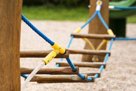 playground with rope bridge