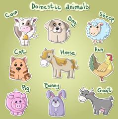 Set of cartoon domestic animals vector illustration