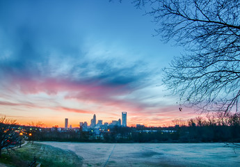 Wall Mural - early morning sunrise over charlotte city skyline downtown