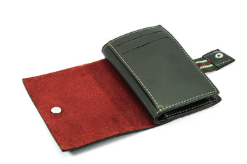 Leather cards holder on a white background
