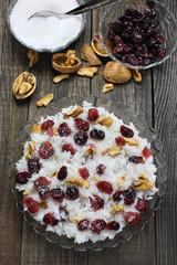 Rice with cranberries, walnuts and sugar