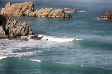 coastal landscape with blue sea and beautiful cliffs