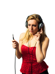Woman With Headphones In Front Of White Background