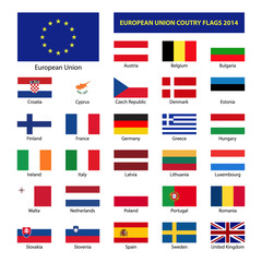 European Union country flags 2014, member states EU