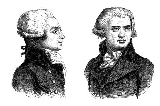 Robespierre & Danton : French Revolutionaries - end 18th century