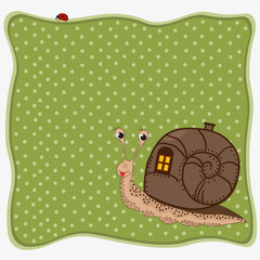 Birthday greeting card with snail