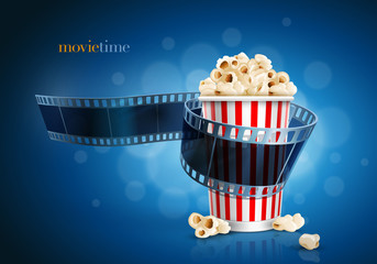 Camera film strip and popcorn.