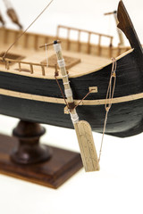 details of model of the ship - the details of model of the ship made manually of a tree.  photographed by a close up