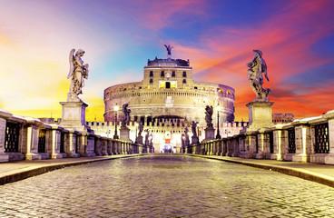 Poster de jardin Rome Castel Sant Angelo from bridge, Rome.