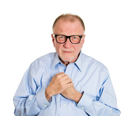 Portrait Shy older man in glasses, isolated white background