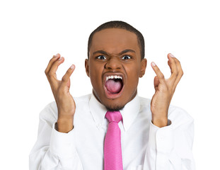 Frustration angry young man screaming, white background