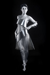 Silver Metal Clothing on a Body Painted Model