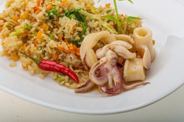 Fried rice with calamari