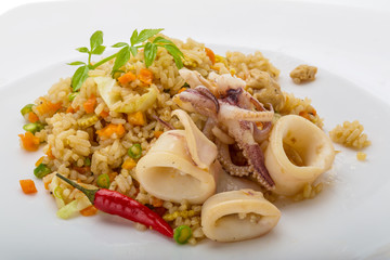 Fried rice with calamari