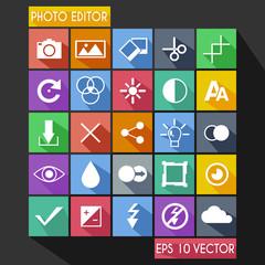 Photo Editor Flat Icon Long Shadow