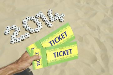 Two Brazil 2014 Tickets Football Soccer Balls Beach