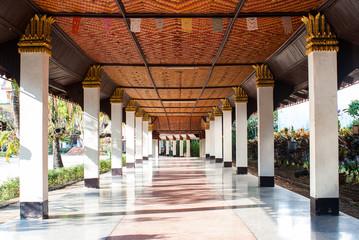 Pillars in Wang Wiwekaram temple, Sangkla buri, Thailand