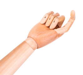 wooden finger pointing or touching