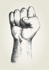 Sketch illustration of a right fist