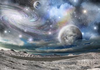 Obraz Górskie grzbiety i galaktyki - fototapety do salonu