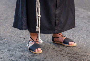 Feet of a nazareno in the Holy Week in Valladolid