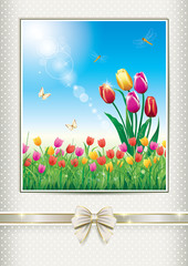 postcard with a floral meadow with tulips