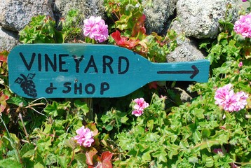 Vineyard sign,Isles of Scilly