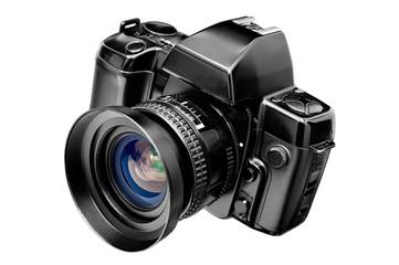 SLR camera isolated on white background