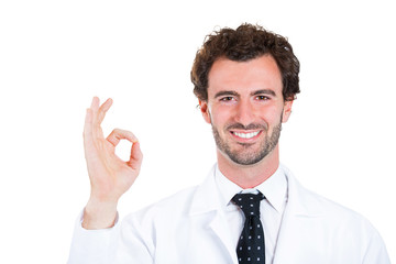 OK. Doctor gives excellence in care gesture on white background