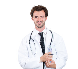 Kind male healthcare professional isolated on white background
