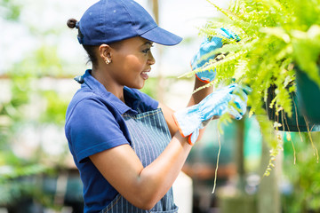 african female florist checking flowers condition