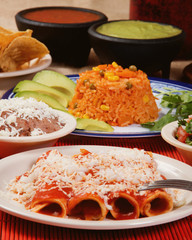 Traditional mexican red enchilada dinner