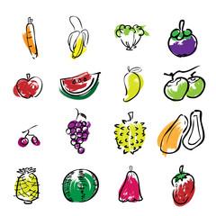 Fruits brush line icons