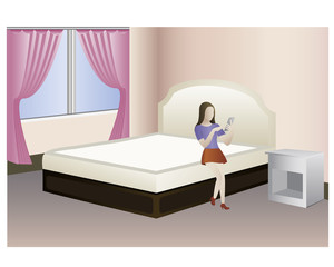 the lady with mobile in the room