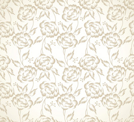 Floral designer seamless wallpaper with strokes