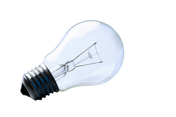 light bulb, lamp isolated on grey background