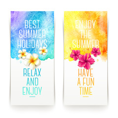 Summer holidays watercolor banners with tropical flowers