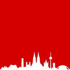 Wall Mural - Skyline Köln rot