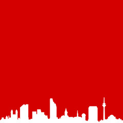 Wall Mural - Skyline Düsseldorf rot