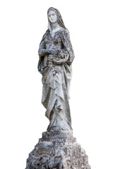 statue of the angel Isolated on white