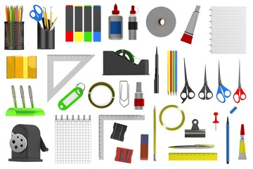 realistic 3d render of stationery tools