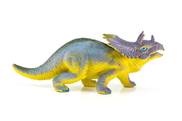 Triceratops dinosaurs toy isolated on white