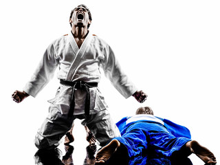 Foto op Aluminium Vechtsport judokas fighters fighting men silhouettes