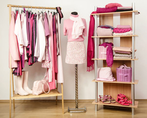Dressing closet with pink clothes on hangers,shelf and mannequin