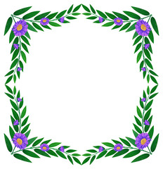 A border made of leaves and violet flowers