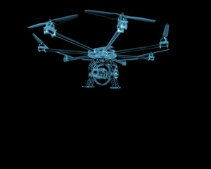 Drone plane uav x-ray blue transparent isolated on black