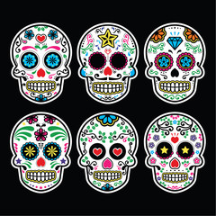 Mexican sugar skull, Dia de los Muertos icons set on black