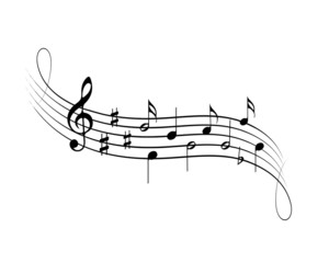 Musical symbols on empty background