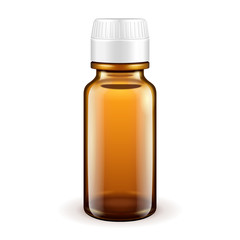 Medical Glass Brown Bottle On White Background