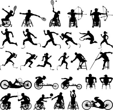 Silhouette of disabled athletes